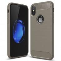 Mobiq - Hybrid Carbon TPU iPhone X Hoesje grijs 01
