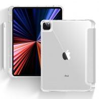 Mobiq - Transparante Trifold iPad Pro 12.9 inch (2021) Hoes Grijs - 1