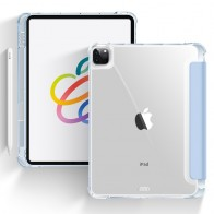 Mobiq - Transparante Trifold iPad Pro 12.9 inch (2021) Hoes Lichtblauw - 1