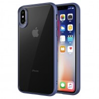 Mobiq Clear Hybrid Case iPhone XS Max Blauw 01