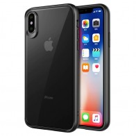 Mobiq Clear Hybrid Case iPhone XS Max Zwart 01
