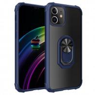 Mobiq Clear Hybrid Ring Case iPhone 12 / 12 Pro 6.1 inch Blauw - 1