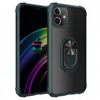 Mobiq Clear Hybrid Ring Hoesje iPhone 13 Mini Groen - 1