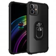 Mobiq Clear Hybrid Ring Hoesje iPhone 13 Zwart - 1