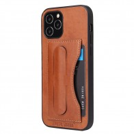 Mobiq Leather Click Stand Case iPhone 12 6.1 Bruin - 1