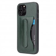 Mobiq Leather Click Stand Case iPhone 12 6.1 Groen - 1
