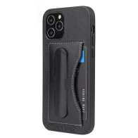 Mobiq Leather Click Stand Case iPhone 12 6.1 Zwart - 1