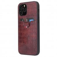 Mobiq Croco Wallet Back Cover iPhone 12 6.1 Bruin - 1