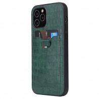 Mobiq Croco Wallet Back Cover iPhone 12 6.1 Groen - 1