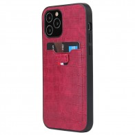 Mobiq Croco Wallet Back Cover iPhone 12 6.1 Rood - 1
