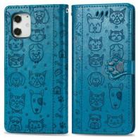 Mobiq Embossed Animal Wallet Hoesje iPhone 12 6.1 Blauw - 1