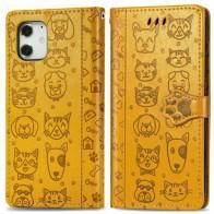 Mobiq Embossed Animal Wallet Hoesje iPhone 12 6.1 Geel - 1