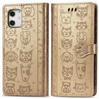 Mobiq Embossed Animal Wallet Hoesje iPhone 12 Mini Goud - 1