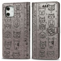Mobiq Embossed Animal Wallet Hoesje iPhone 12 Pro Max Grijs - 1