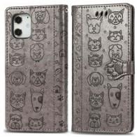 Mobiq Embossed Animal Wallet Hoesje iPhone 12 6.1 Grijs - 1