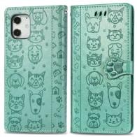Mobiq Embossed Animal Wallet Hoesje iPhone 12 6.1 Groen - 1