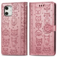 Mobiq Embossed Animal Wallet Hoesje iPhone 12 6.1 Rose Gold - 1