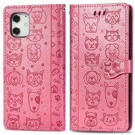 Mobiq Embossed Animal Wallet Hoesje iPhone 12 6.1 Roze - 1