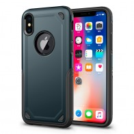 Mobiq Extra Stevig Hoesje iPhone X/XS Blauw - 1