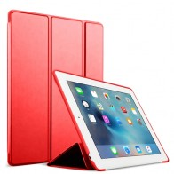 Mobiq Flexibele Tri-folio hoes iPad 9.7 2018/2017, iPad Air 2, iPad Air 1 Rood 01