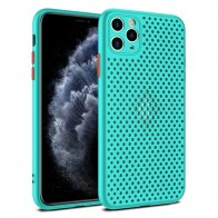Mobiq - Geperforeerde TPU Case iPhone 12 Pro Max Turqoise - 1