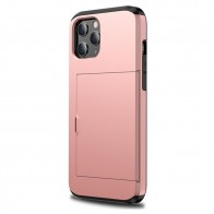 Mobiq Hybrid Card Hoesje iPhone 12 / 12 Pro Rose Gold - 1