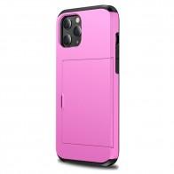 Mobiq Hybrid Card Hoesje iPhone 12 / 12 Pro Roze - 1