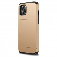 Mobiq Hybrid Card Hoesje iPhone 12 Mini Goud - 1