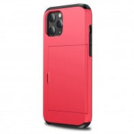 Mobiq Hybrid Card Hoesje iPhone 12 Mini Rood - 1