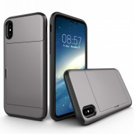 Mobiq Hybrid Card Case iPhone XR Grijs - 1