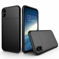 Mobiq Hybrid Card Case iPhone XR Zwart - 1