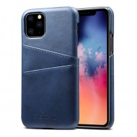 Mobiq Leather Snap On Wallet iPhone 11 Blauw - 1