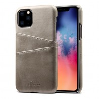 Mobiq Leather Snap On Wallet iPhone 11 Grijs - 1