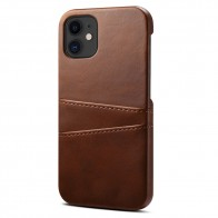 Mobiq Leather Snap On Wallet iPhone 12 Mini Donkerbruin - 1