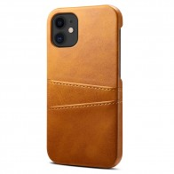 Mobiq Leather Snap On Wallet iPhone 12 Mini Tan Brown - 1