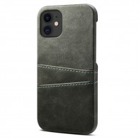 Mobiq Leather Snap On Wallet iPhone 13 Mini Grijs - 1