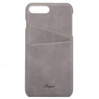 Mobiq Leather Snap On Wallet Case iPhone 8 Plus/7 Plus Grijs 01