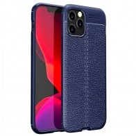 Mobiq Leather Look TPU Hoesje iPhone 12 6.1 Blauw - 1