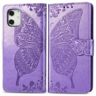 Mobiq Premium Butterfly Wallet Hoesje iPhone 12 Mini Lichtpaars - 1