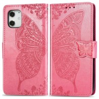 Mobiq Premium Butterfly Wallet Hoesje iPhone 12 Mini Roze - 1