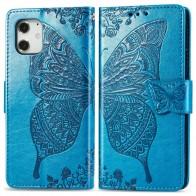 Mobiq Premium Butterfly Wallet Hoesje iPhone 12 6.1 inch Blauw - 1