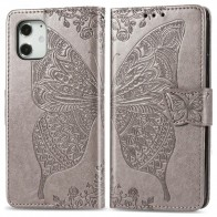 Mobiq Premium Butterfly Wallet Hoesje iPhone 12 Mini Grijs - 1
