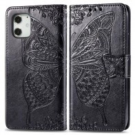 Mobiq Premium Butterfly Wallet Hoesje iPhone 12 Mini Zwart - 1