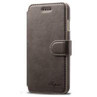 Mobiq Premium Lederen iPhone 8 / iPhone 7 Wallet hoes Grijs 01