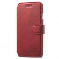 Mobiq Premium Lederen iPhone 8 Plus/7 Plus Wallet hoes Rood 01