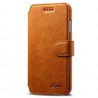 Mobiq Premium Lederen iPhone 8 Plus / 7 Plus hoes Tan 01