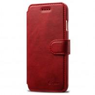 Mobiq Premium Lederen iPhone 8 / iPhone 7 Wallet hoes Rood 01