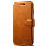 Mobiq Premium Lederen iPhone 8 / iPhone 7 Wallet hoes Tan Bruin 01