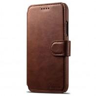 Mobiq Premium Lederen iPhone X Wallet hoes Bruin 01
