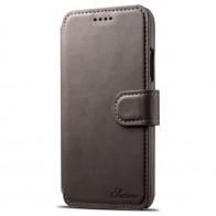 Mobiq Premium Lederen iPhone X Wallet hoes Grijs 01